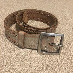 Silvery leather belt